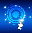 hand turn button with magic light vector image vector image