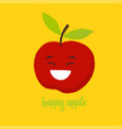happy red apple vector image vector image