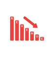 icon concept of revenue sales bar graph moving vector image vector image