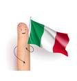 italy flag at finger man vector image vector image