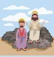 jesus the nazarene and matthew in scene in desert vector image vector image