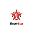 karaoke sing vocal audition microphone star logo vector image vector image