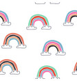 kids hand drawn seamless pattern with rainbows vector image vector image