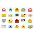 letter icon set flat style vector image vector image