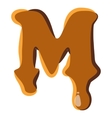 Letter M from caramel icon vector image vector image