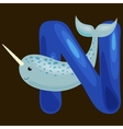 letter N with animal narwhal for kids abc vector image