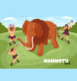 mammoth hunt isometric background vector image vector image