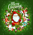 merry christmas holiday poster with santa claus vector image vector image