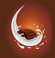 milk splash with sweet chocolate candy vector image vector image