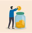 money saving concept man inserting cash into vector image