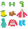 of winter clothes vector image