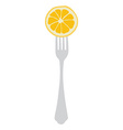 Orange on fork vector image vector image