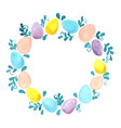 pastel eggs and ivy green wreath watercolor vector image vector image