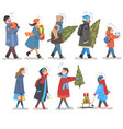 people in winter clothing carrying gift boxes and vector image vector image