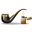 Pipe and lighter vector image