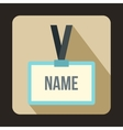 Plastic Name badge with gray neck strap icon vector image vector image