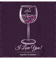 Purple love card with a glass of wine filled vector image vector image