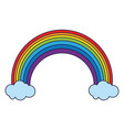 rainbow and clouds cartoon blue lines vector image