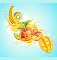 realistic tropical fruit in juicy explosion vector image vector image