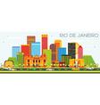 Rio De Janeiro Skyline with Color Buildings vector image vector image