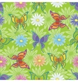 Seamless background flowers and butterflies vector image