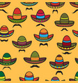 seamless pattern sombrero and moustache on vector image vector image