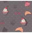 seamless pattern with cupcakes and croissants vector image