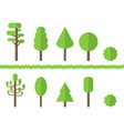 set green flat trees isolated on white vector image