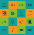 set of 16 audio icons includes microphone song vector image vector image