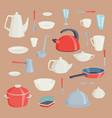 set of kitchen utensils food kitchenware cooking vector image vector image