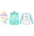 set unicorn backpack and cap vector image vector image