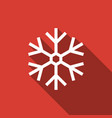 snowflake icon isolated with long shadow vector image vector image