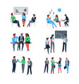 successful teamwork people at work giving vector image
