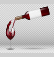 transparent wine bottle and wineglass mockup vector image