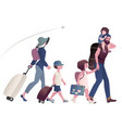 traveling family with suitcases and backpacks vector image vector image
