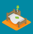 wooden bed for one person with a pillow and a vector image vector image