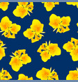 yellow canna lily on navy blue background vector image vector image