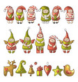 set of different colored gnome icons vector image