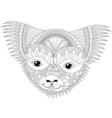 zentangle happy friendly koala face for adult anti vector image
