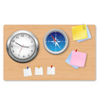 a wall office clock compass vector image vector image