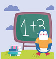 back to school penguin chalkboard stacked books vector image vector image