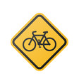 bicycle road sign yellow vector image vector image