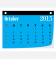 Calendar October 2015 vector image vector image