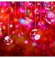 Christmas baubles on red sparkly EPS 10 vector image vector image