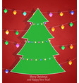 christmas tree on a red background vector image vector image