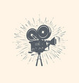 cinema video logo or label retro movie camera vector image