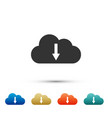 cloud download icon isolated on white background vector image vector image