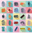 coil spring cable icons set flat style vector image vector image