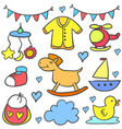 collection of baby colorful various object doodles vector image vector image
