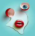 cracked egg with lips vector image vector image
